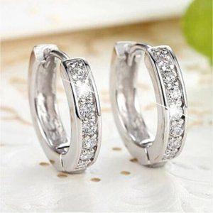 Jewelry - 18K White Gold Filled Zircon Huggie Hoop Earrings